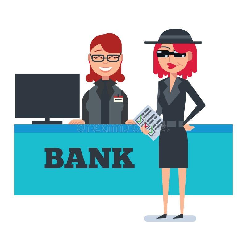 Mystery shopper woman in spy coat checks bank stock illustration
