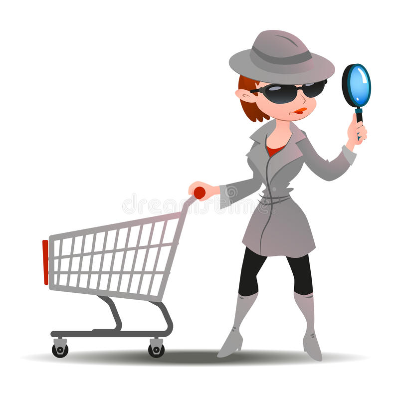 Mystery shopper woman in spy coat with shopping cart. Mystery shopper woman in spy coat, boots, sunglasses and hat with magnifier and shopping cart. Full-length stock illustration