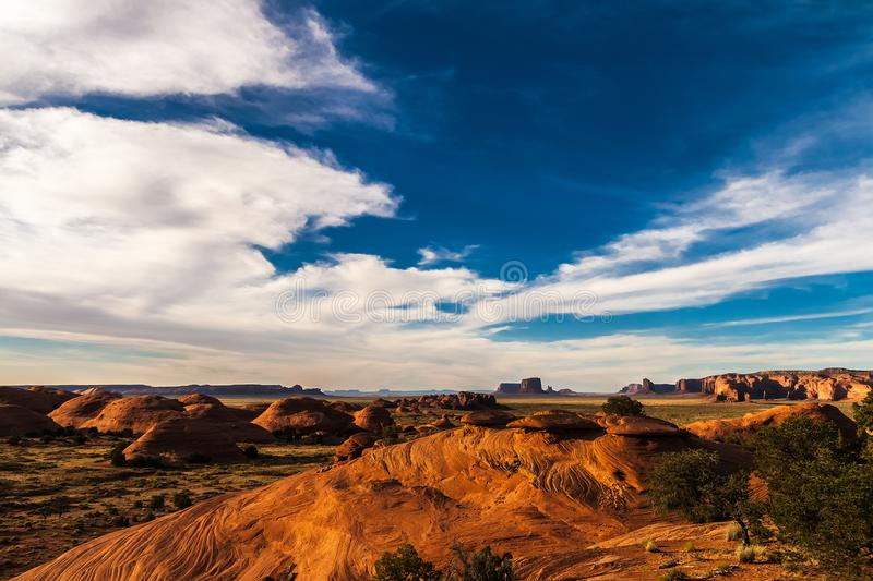 The Mystery Valley in the Monument Valley Navajo Tribal Park before sunset, Arizona. royalty free stock photo