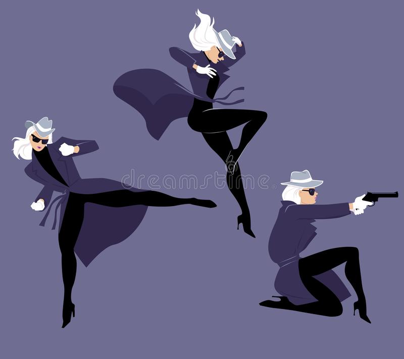 Mystery woman character in action. Mystery woman character in three action poses, EPS 8 vector illustration stock illustration