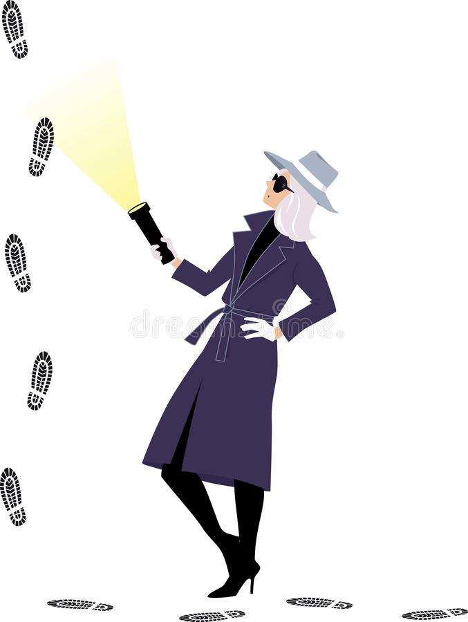 Mystery woman following a lead stock illustration