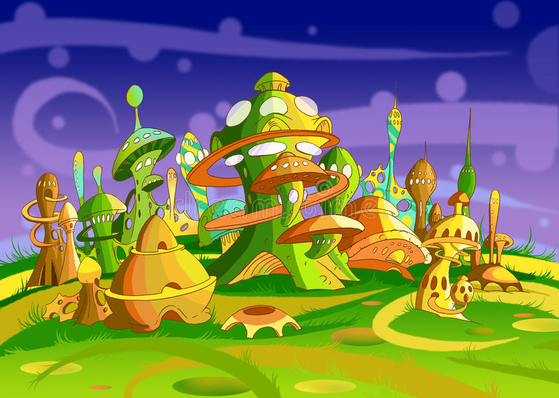 Mystery Wonderland. Futuristic Alien City royalty free illustration
