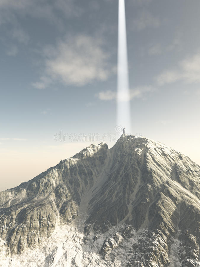 Mystic Ascending from the Mountain Top. Fantasy illustration of a robed mystic ascending in a beam of light from a mountain top, 3d digitally rendered stock illustration