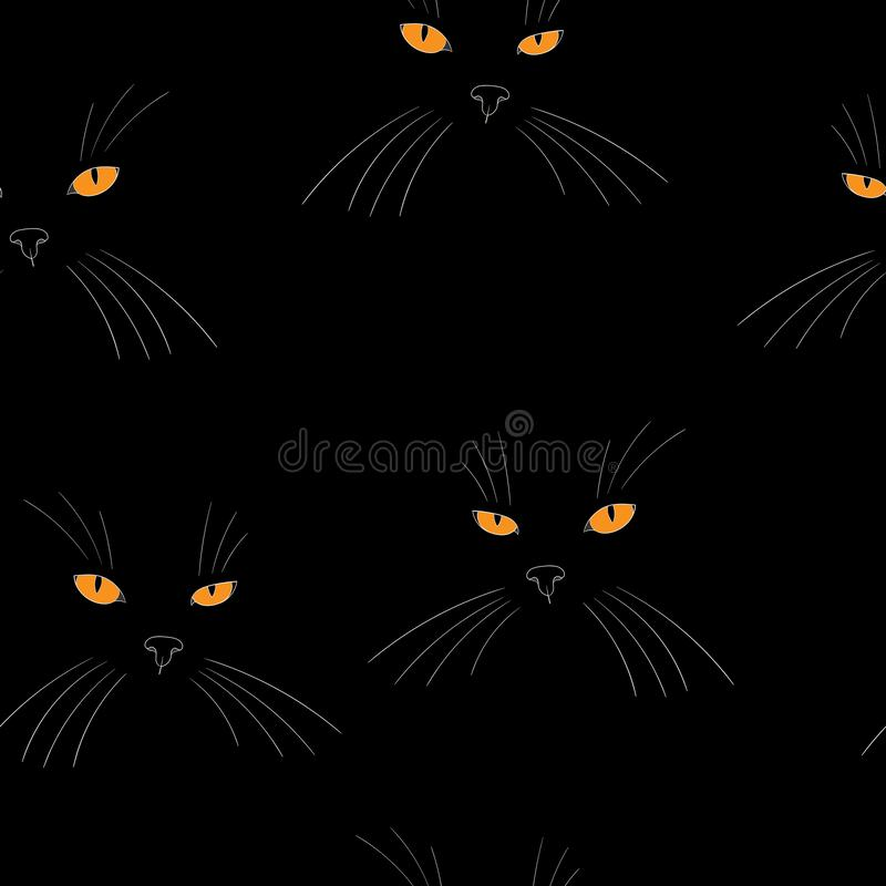 Mystic black cat face silhouette with orange eyes stock illustration