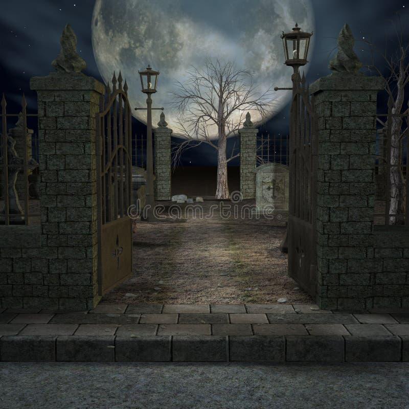 Mystic Cemetery vector illustration