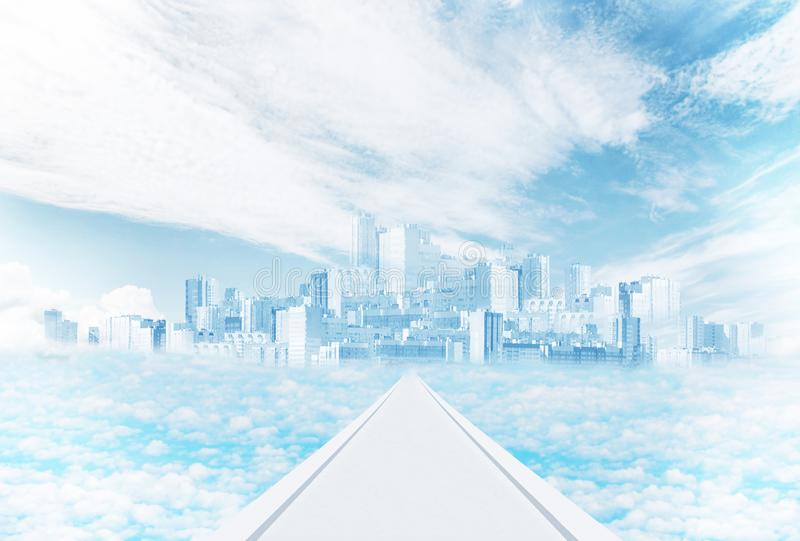 Mystic city in the sky among the clouds stock images