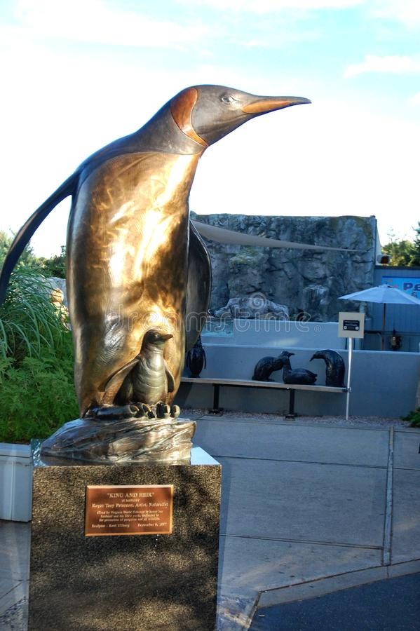Mystic connecticut penguine statue marine exibition. There is one of the landmark of Mystic Seaport , Connecticut state of USA , as Marine life exibition nearby stock photography