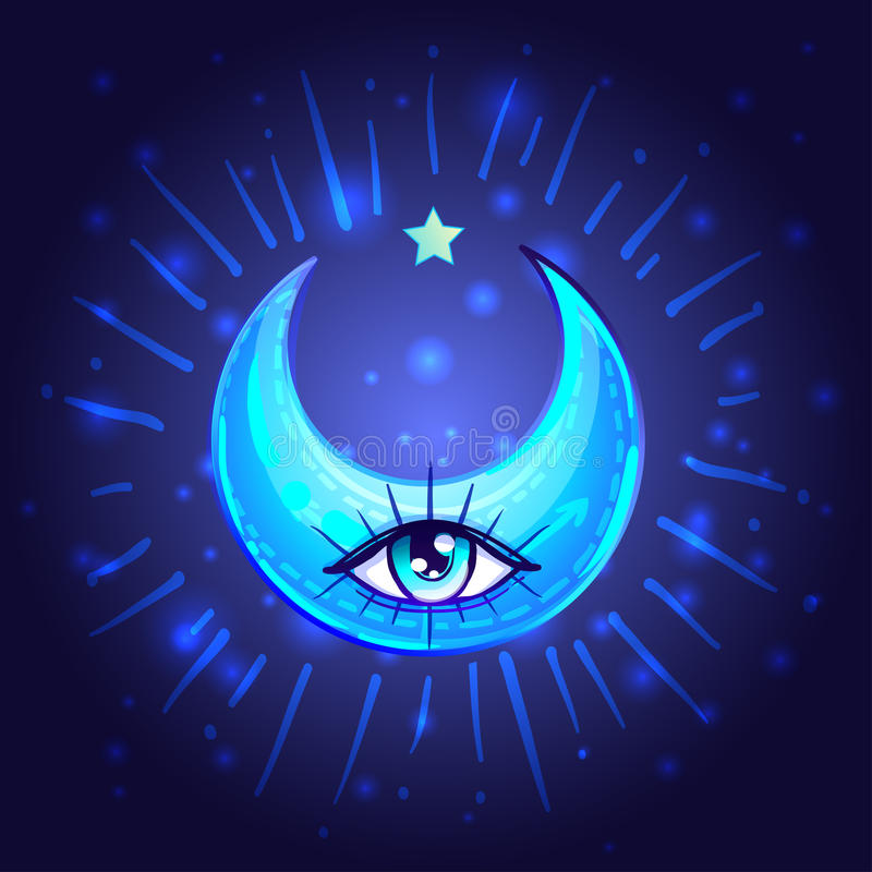 Mystic Crescent Moon with one eye in anime or manga style. Hand-drawn vector illustration over deep background. Trendy magic. Print, alchemy, religion royalty free illustration