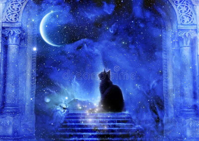 Mystic divine gate with stairs, cat, stars and a planet royalty free stock images