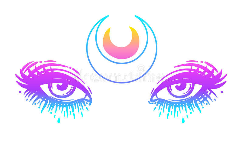 Mystic eyes in anime or manga style with a moon. Hand-drawn vector illustration isolated on white. Trendy. Print, alchemy, religion, spirituality, occultism stock illustration