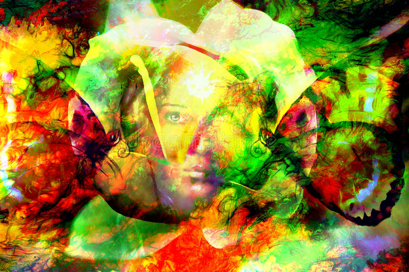 Mystic face women with butterflies, color background collage. eye contact stock illustration