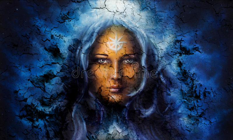 Mystic face women, with structure crackle background effect, with star on forehead, collage. eye contact. Mystic face women, with structure crackle background royalty free illustration