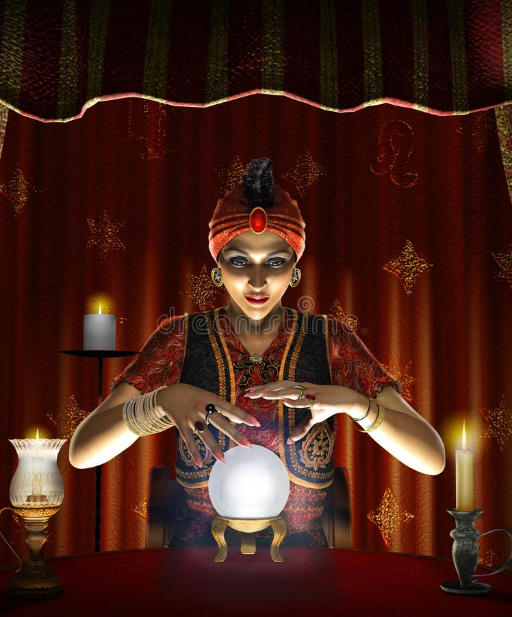 Mystic female Gypsy fortune teller with a lighted crystal ball. Dramatic concept of a mystic mystic, female Gypsy fortune teller with a lighted crystal ball in stock illustration