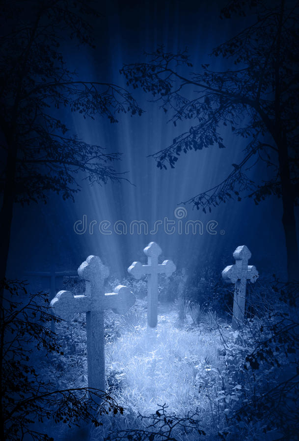 Mystic glow in the cemetery