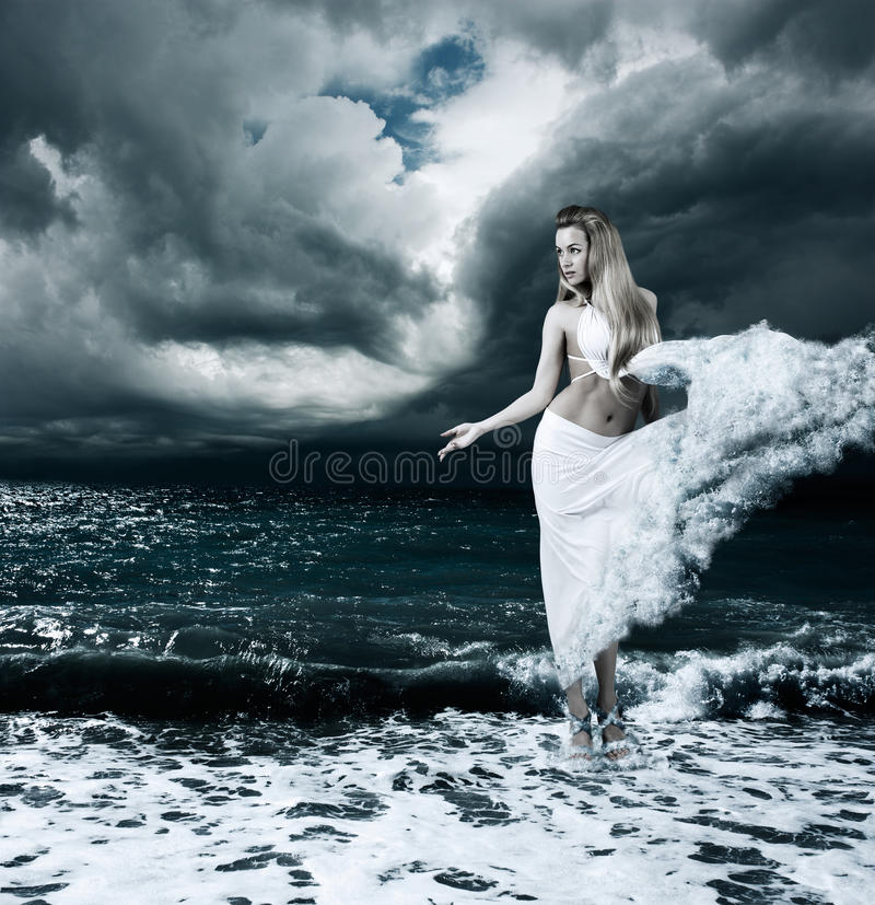 Free Mystic Goddess In Stormy Sea Royalty Free Stock Image - 34658206