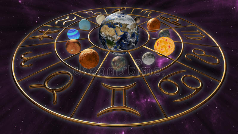 Mystic golden zodiac horoscope symbol with twelve planets in cosmic scene. 3D rendering royalty free illustration