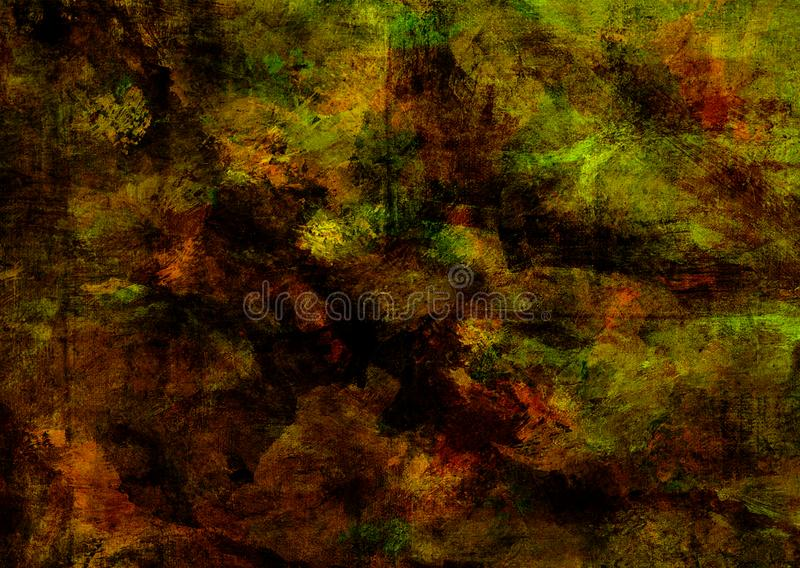 Mystic Grunge Dark Yellow Brown Green Red Rusty Distorted Decay Broken Old Abstract Texture for Autumn Background Wallpaper royalty free illustration