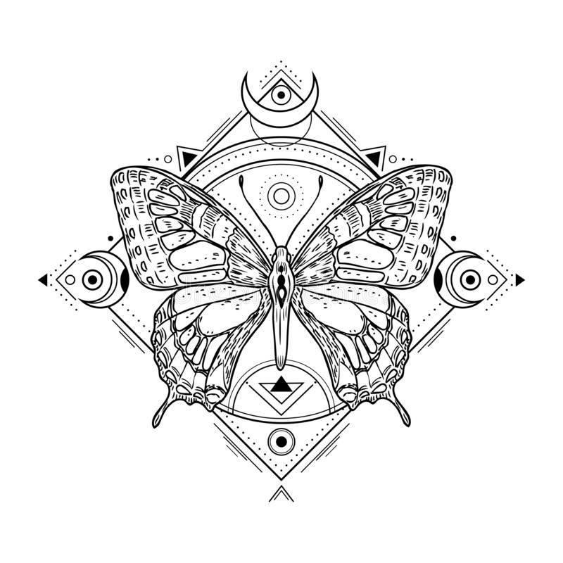 Mystic insect tattoo. Engraving mystical spiritual sketch design. Alchemy freemasonry occult vector symbol. Tattoo sketch freemasonry, animal sketchy vector illustration