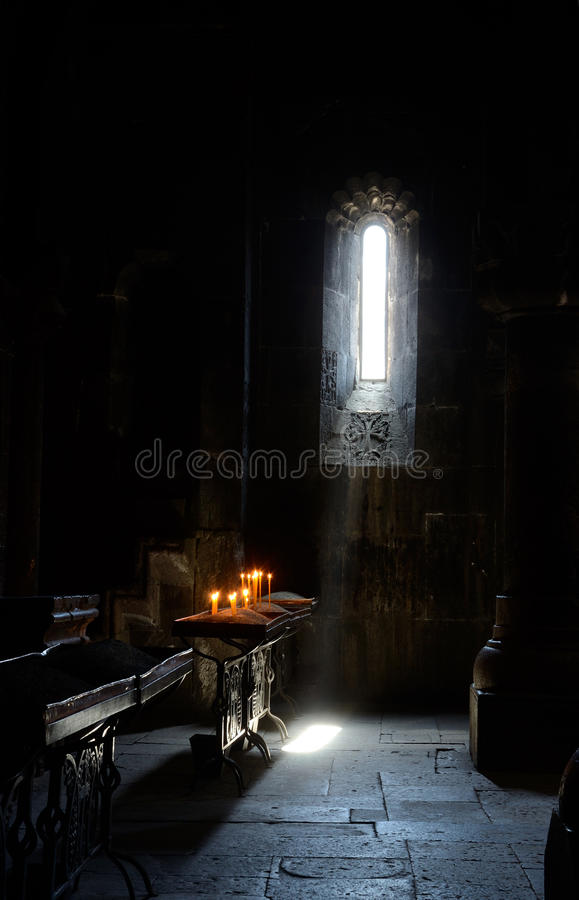 Mystic light in ancient armenian temple, Caucasus royalty free stock image