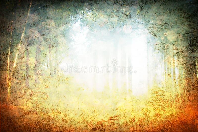 Mystic light burst in forest stock photo