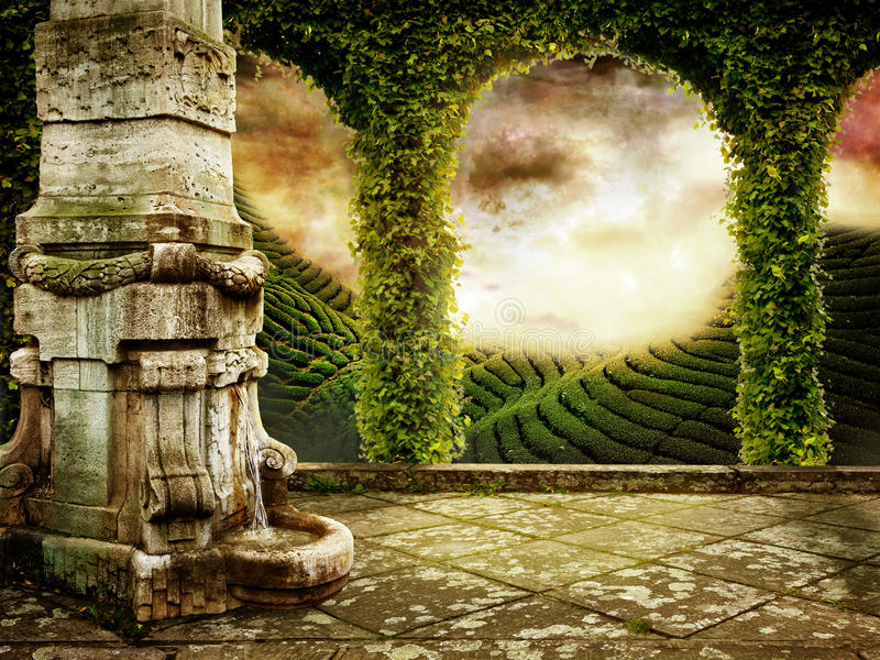 Mystic Place. Beautiful Fairy tale Background with View of mystic Landscape
