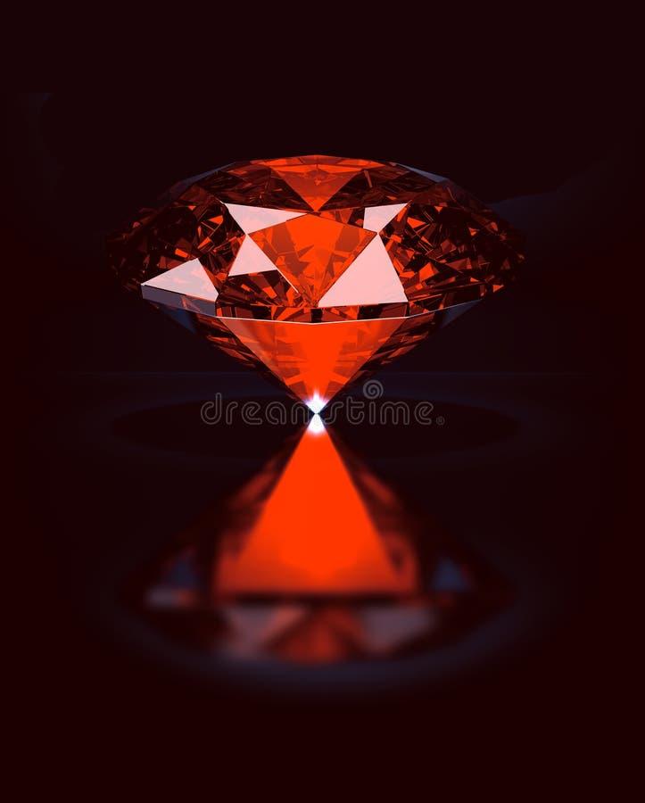 Mystic red stone. Ruby / Topaz on black reflective background stock illustration