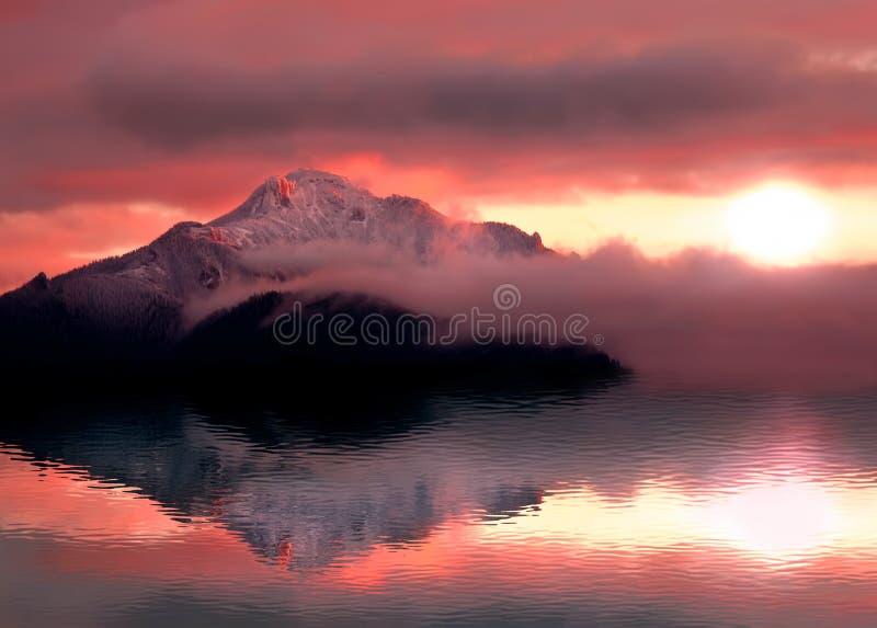 Mystic sunset with mountain reflection and lake. Romanian Carpathians. Ceahlau stock photo