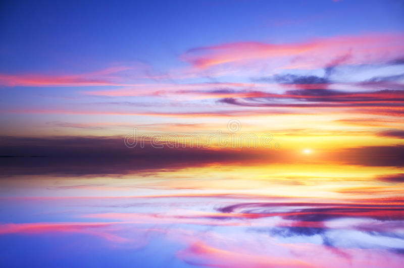 Mystic sunset on the sea royalty free stock photo