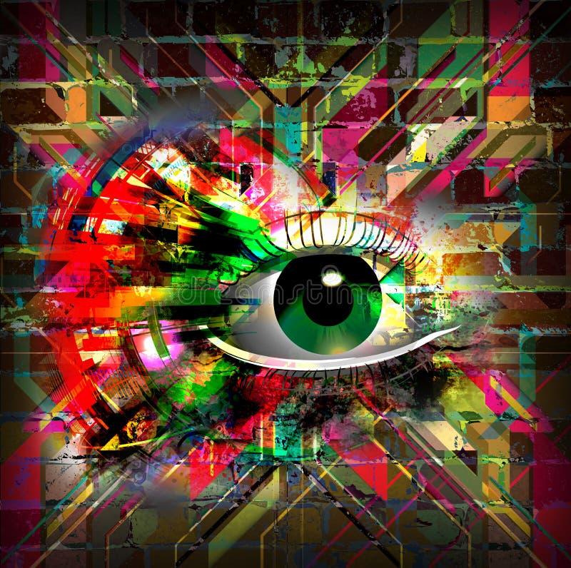 Mystic symbol colorful illustration. Mystic eye symbol colorful illustration vector illustration