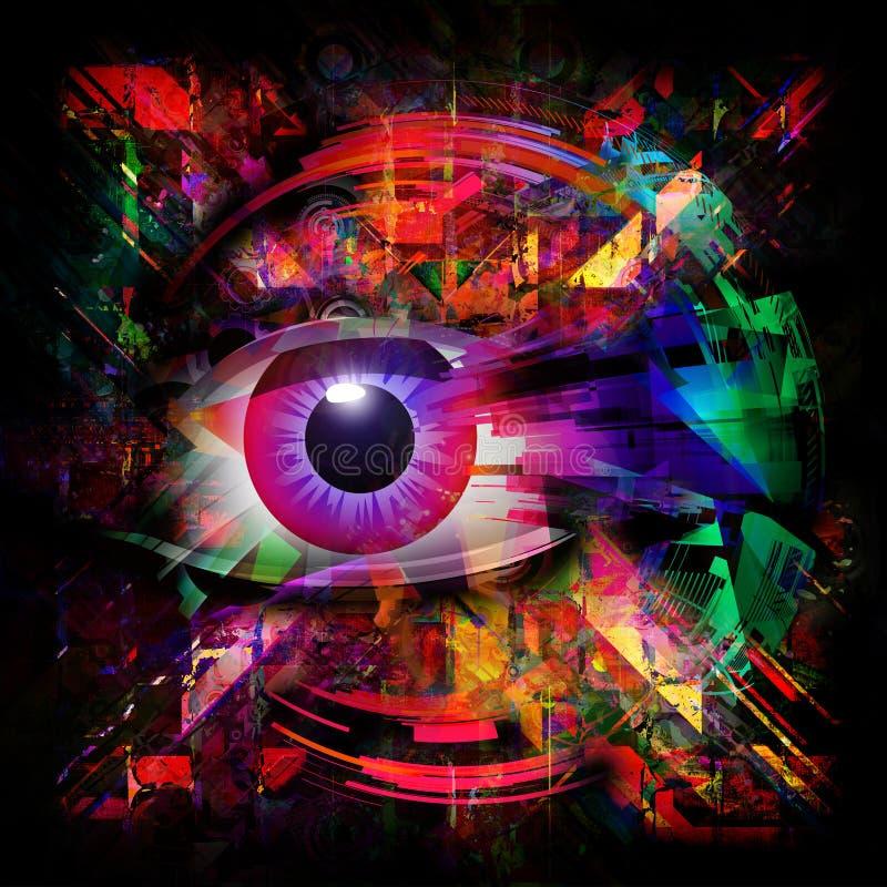 Mystic symbol colorful illustration. Mystic eye symbol colorful illustration royalty free illustration
