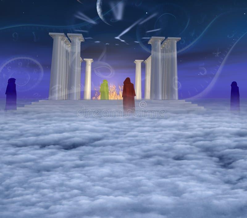 mystic tempel royaltyfri illustrationer