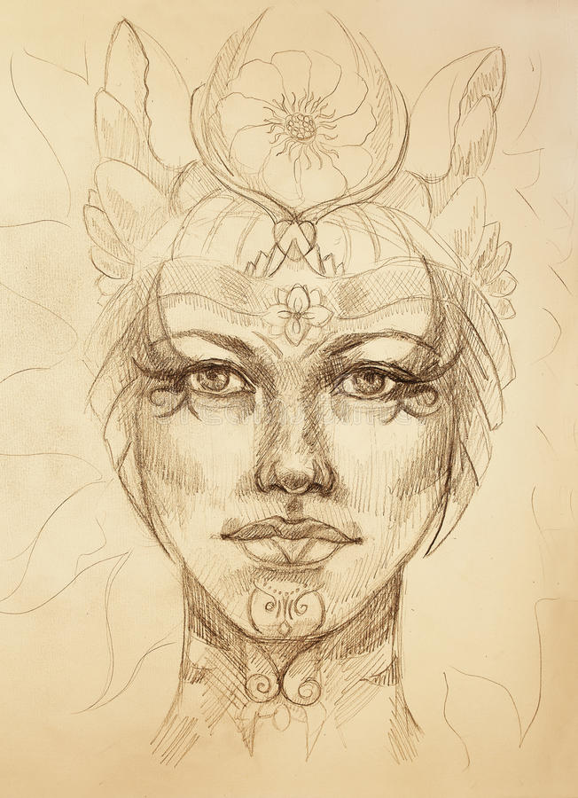 Mystic woman face with floral ornament. Drawing on paper, Color effect. Eye contact. royalty free illustration