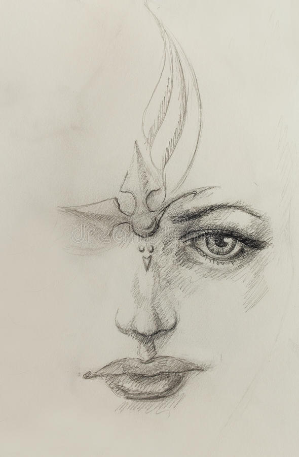 Mystic woman face. pencil drawing on paper. vector illustration