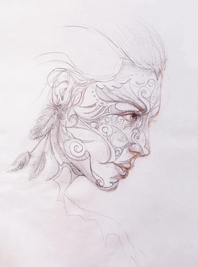 Mystic woman with ornament on face. pencil drawing on old paper. vector illustration