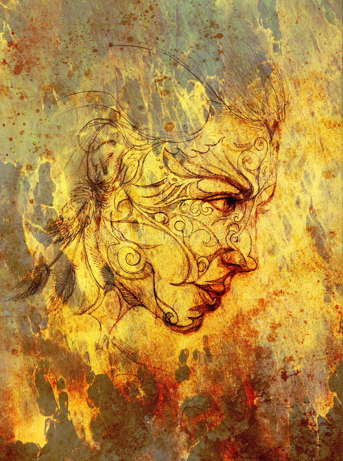Mystic woman with ornament on face. pencil drawing on old paper. Color effect. stock illustration