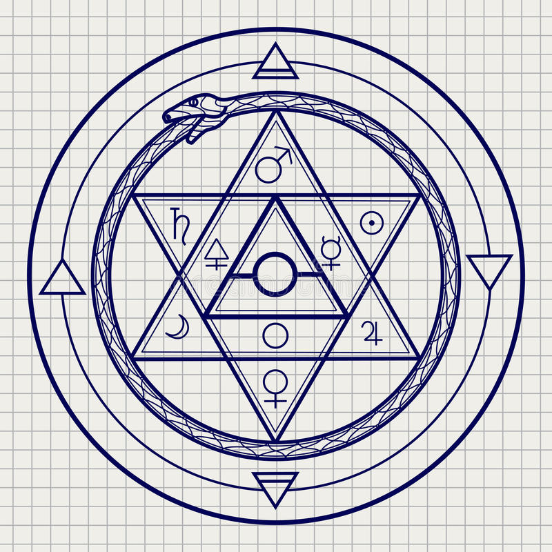 Mystical astrological sign on notebook page stock illustration