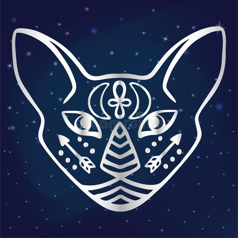 Mystical Cat Face With Esoteric Hieroglyphic Symbols Egyptian Cat