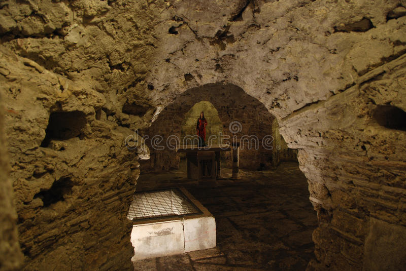 Mystical crypt. Catacombs of the UNESCO listed emperor Diocletian's Palace in Split, Croatia royalty free stock image