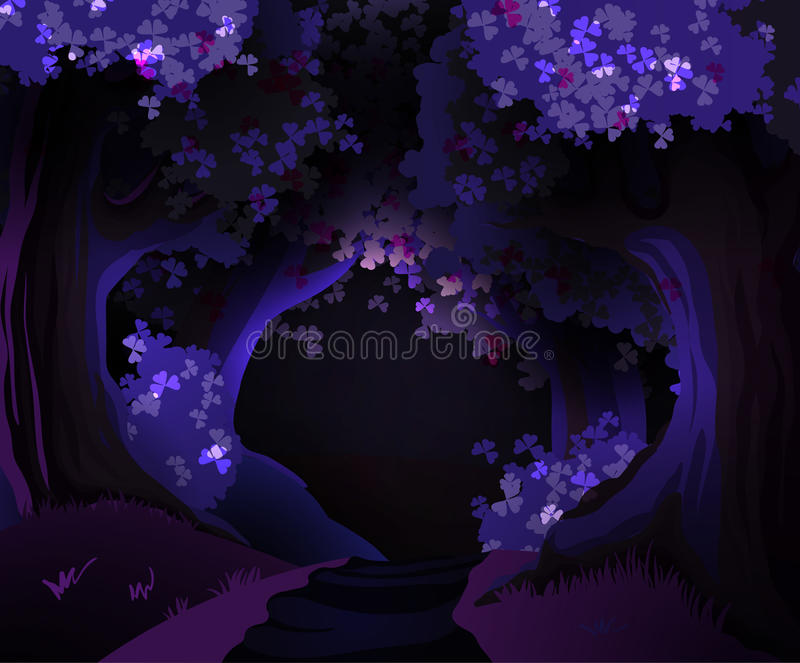 Mystical dark forest illustration. Mystical dark glowing forest illustration stock illustration