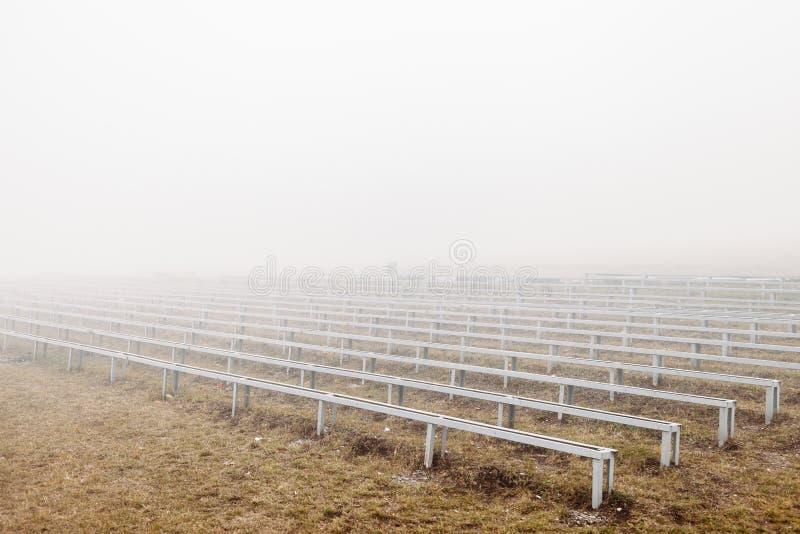 Mystical dramatic photo. grandstand in fog. Grandstand in fog. mystical dramatic photo stock photos