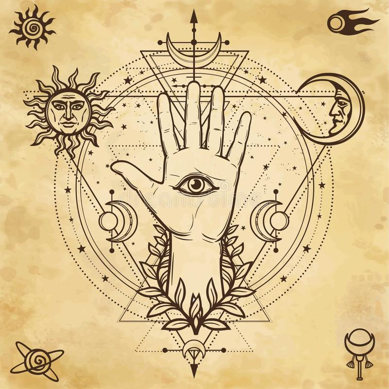 Mystical drawing: divine hand, all-seeing eye, circle of a phase of the moon. Sacred geometry. Background - imitation of old paper. Vector illustration. Print vector illustration