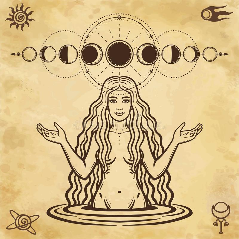 Mystical drawing: the female goddess with long hair. Phase of the moon. stock illustration