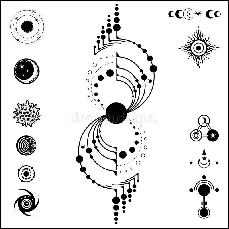 Free Mystical Drawing: Mysterious Crop Circle UFO, Stylized Galaxy, Set Of Cosmic Symbols. Royalty Free Stock Image - 161282916