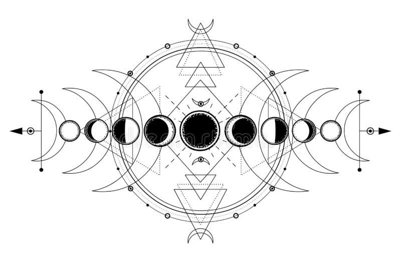 Mystical drawing: phases of the moon, energy circles. Sacred geometry. Alchemy, magic, esoteric, occultism. Monochrome Vector Illustration isolated on a white royalty free illustration