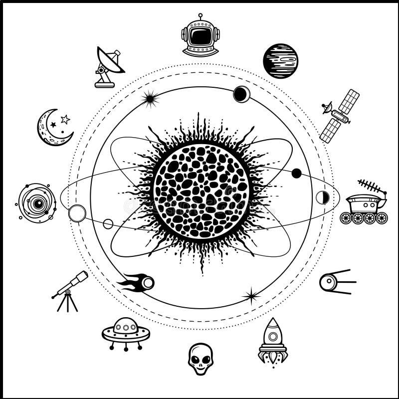 Mystical drawing: stylized Solar system, orbits, planets. stock illustration