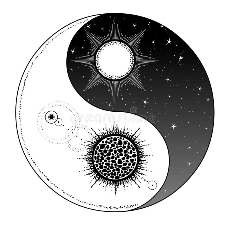 Mystical drawing: Stylized sun and moon, day and night, cosmic dualism. Zen symbol. vector illustration