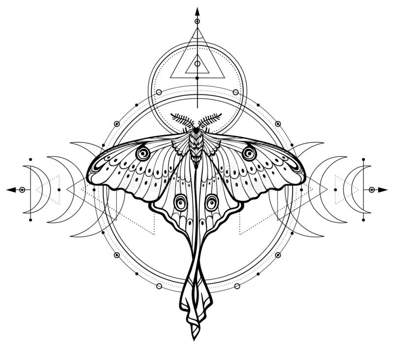 Free Mystical Drawing: Tropical Butterfly, Sacred Geometry, Moon Phases, Energy Circles. Royalty Free Stock Photo - 171043125