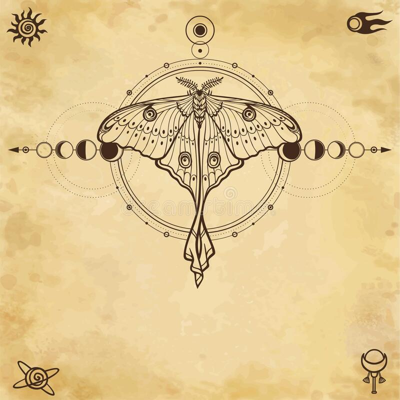 Free Mystical Drawing: Tropical Butterfly, Sacred Geometry, Moon Phases, Energy Circles. Royalty Free Stock Photos - 171641648