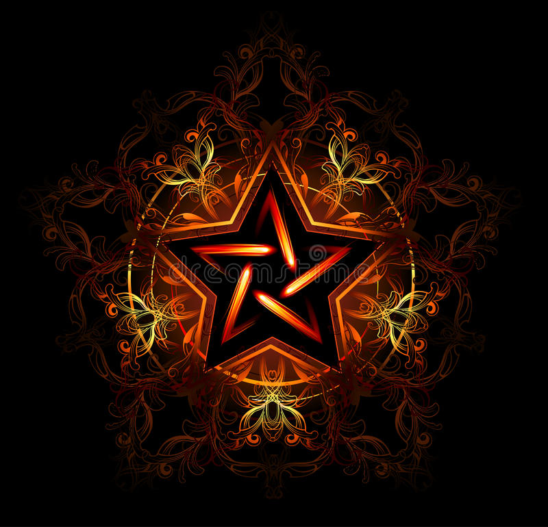 Mystical fiery star. Wiccan fiery star, decorated with red pattern on a black background royalty free illustration