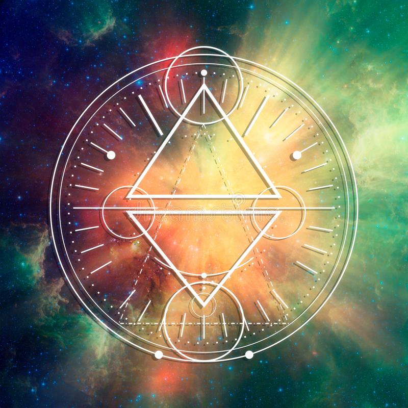 Mystical occult symbol. Mystical geometry symbol. Linear occult, philosophical sign. For music album cover, poster, sacramental design. Elements of this image royalty free stock photography